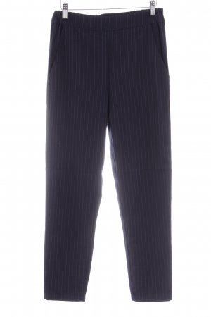 Minimum Pantalon à pinces bleu foncé-blanc motif rayé style décontracté