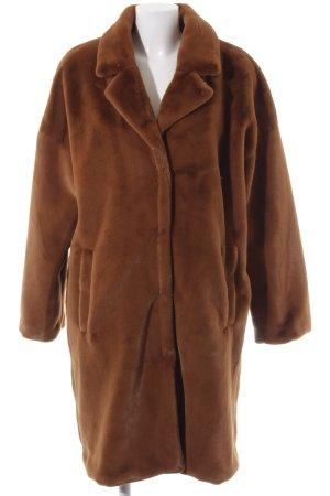 Minimum Fake Fur Coat brown-cognac-coloured extravagant style
