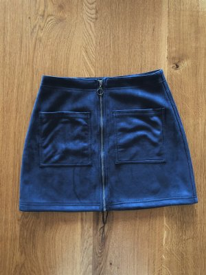 minimum Kunstleder Velours Minirock dunkelblau Reißverschluß Gr. 38 S