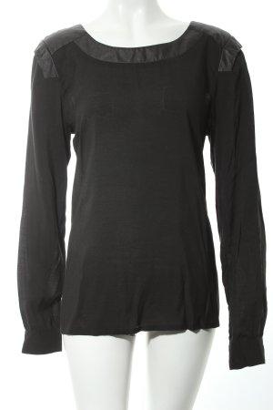 Minimum Langarm-Bluse schwarz Eleganz-Look