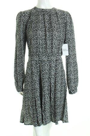 Minimum Langarmkleid schwarz-weiß Punktemuster schlichter Stil