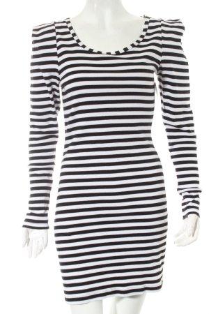 Minimum Langarmkleid weiß-schwarz Streifenmuster Paris-Look