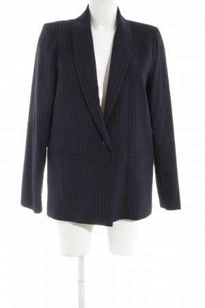 Minimum Long-Blazer schwarz-silberfarben Streifenmuster Business-Look