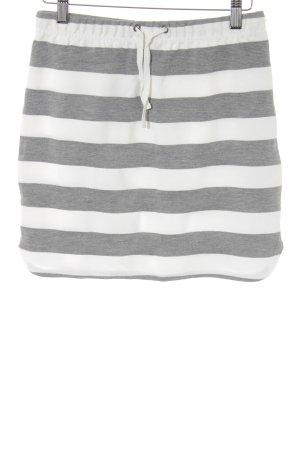 Minimum Minirock wollweiß-grau Streifenmuster sportlicher Stil
