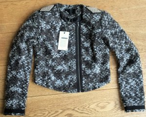* MINIMUM * NEU ! Jacke Bikerstil Wollmischung Bouclé  Schulterklappen Nieten grau melliert Gr 38 M