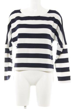 Minimum Rundhalspullover weiß-dunkelblau Streifenmuster Casual-Look