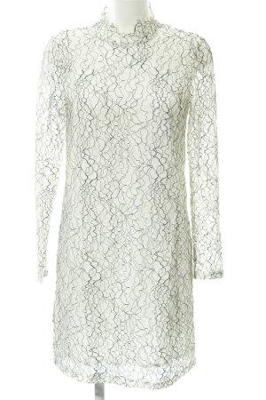 Minimum Spitzenkleid weiß-schwarz florales Muster schlichter Stil