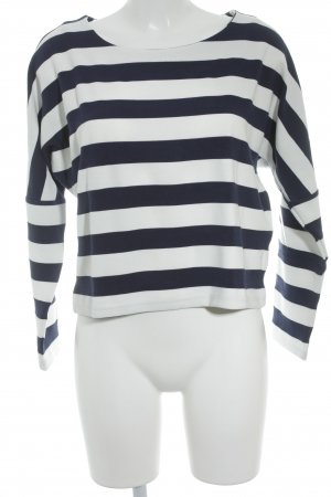 Minimum Strickpullover weiß-dunkelblau Streifenmuster Casual-Look