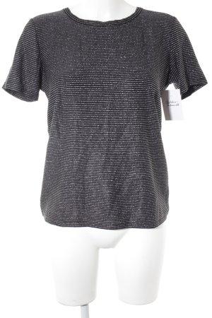 Minimum T-Shirt schwarz-silberfarben Streifenmuster Casual-Look
