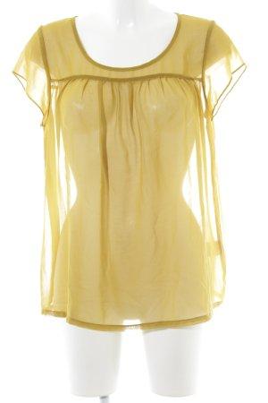 Minimum Blusa transparente amarillo limón-ocre estilo romántico