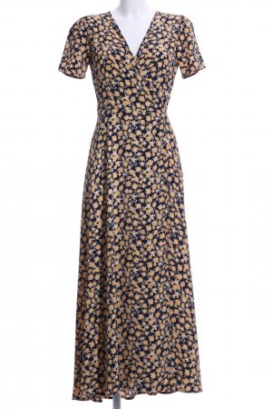 Minimum Wraparound dark yellow-dark blue flower pattern casual look