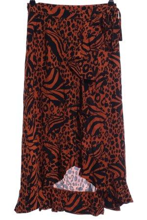 Minimum Wraparound Skirt black-dark orange animal pattern street-fashion look