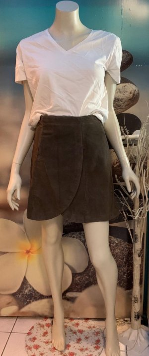 Alba Moda Leather Skirt grey brown