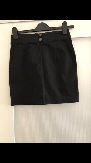 H&M Minifalda negro-color oro