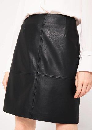 Comma Falda de cuero de imitación negro Poliéster