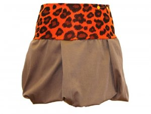 Jupe ballon orange fluo-marron clair coton