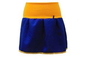 Minirock Blau Gelb mit Spitze in Gr. 40