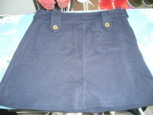 Minirock blau H&M XS 34 Taschen vorne Knöpfe altgold