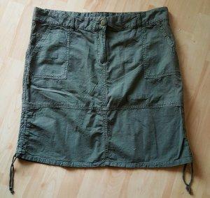 Jupe cargo vert foncé-kaki coton