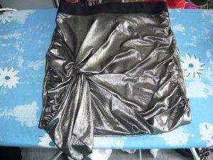 Minirock gold mit schwarzem Bund und dekorativem Knoten vorne H&M XS 34