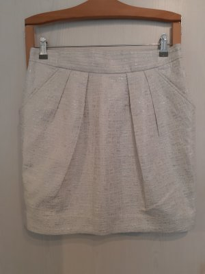 Mango Suit Tulip Skirt white-silver-colored