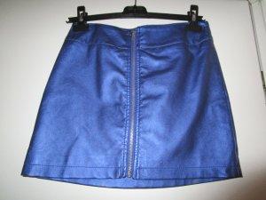 Minirock Kunstleder 34 /XS Reißverschluss metallic Blue