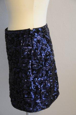 Minirock mit blauen Pailletten Grösse 36