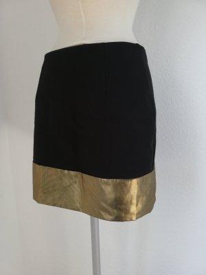Minirock schwarz Gold Gr. 36 S Rock Mini kurz glamour neu