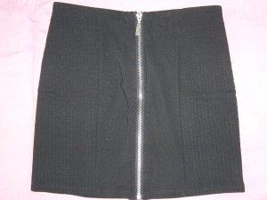 Minirock schwarz silberner Reißverschluss vorne H&M XS 34