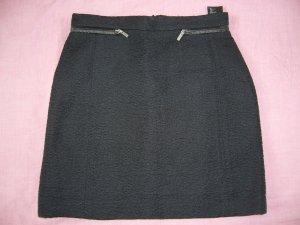 Minirock schwarz Struktur silberne Reißverschlüsse H&M XS 34