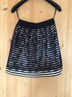 Minirock schwarz/weiß mit Spitze