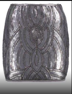 Minirock Silver Paillettenrock 34/36 XS/S neu stretch