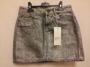 Asos Miniskirt silver-colored cotton