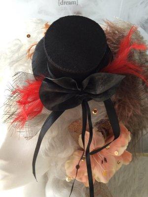 Cappello a cilindro nero-rosso scuro