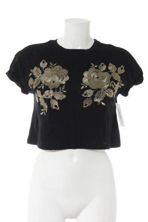 Minkpink Cropped Shirt schwarz-goldfarben Blumenmuster Glanz-Optik