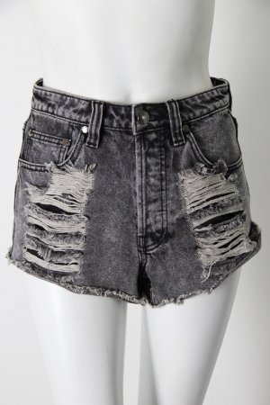 Minkpink High Waist Jean Shorts Black Acid Wash