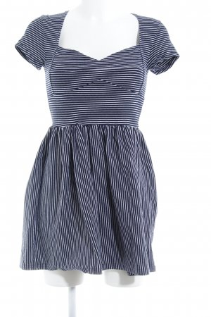 Minkpink Stretch jurk donkerblauw-wit gestreept patroon casual uitstraling