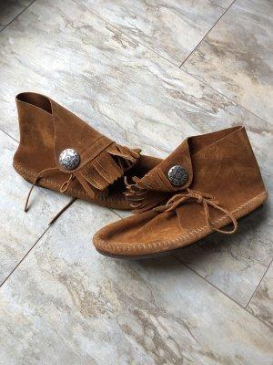 Minnetonka Boot Fransen Gr. 39 braun Leder Hippie