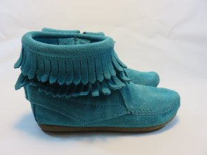 Minnetonka Moccasins light blue-turquoise suede