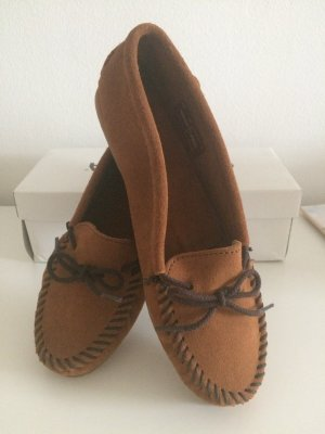 Minnetonka Sailing Shoes cognac-coloured-brown leather