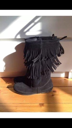 Minnetonka schwarz velourleder 36