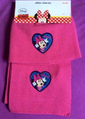 Minnie maus Disney Set Mütze Schal pink