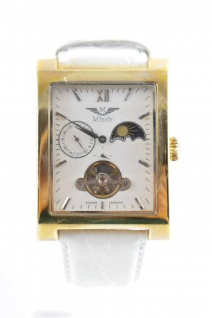 Minoir Watch With Leather Strap white-gold-colored casual look