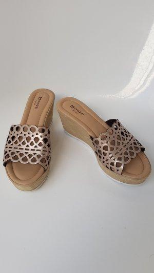 Minozzi Milano Heel Pantolettes bronze-colored-cream