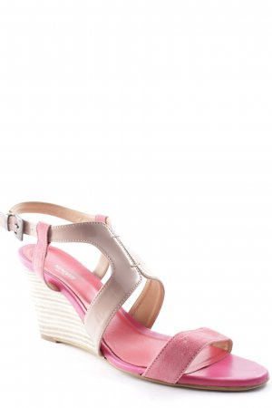 Minozzi Milano Strapped High-Heeled Sandals neon pink-beige elegant