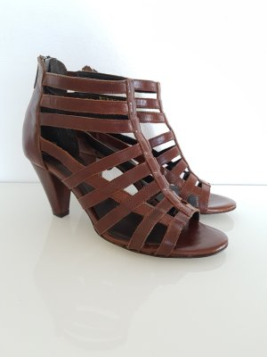 Minozzi Milano Strapped High-Heeled Sandals brown leather