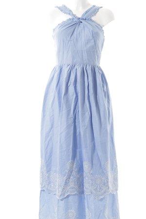 Mint&berry A-Linien Kleid himmelblau-weiß florales Muster Romantik-Look