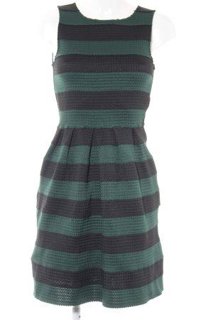 Mint&berry A-Linien Kleid schwarz-dunkelgrün Streifenmuster Elegant