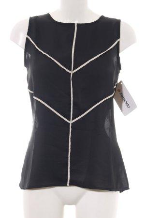 Mint&berry ärmellose Bluse schwarz-creme Elegant
