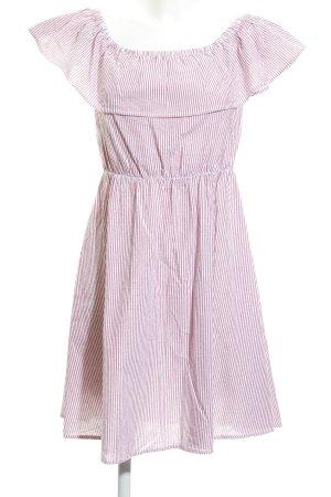 Mint&berry Vestido bandeau blanco-rojo ladrillo estampado a rayas look casual